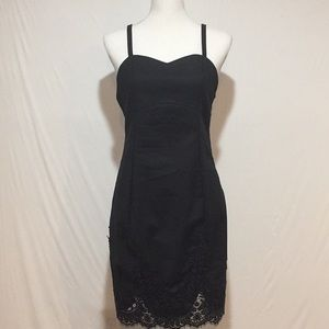 Tobi Thin Strap Black Dress Lace Detail